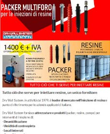 Packer iniezione resine Dry Wall System